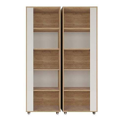 Manhattan Comfort Cypress Bookcase in Nature and Off White  Set of 2