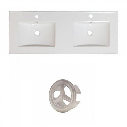 Xena 59 inch W Ceramic Double Sink Rectangular Vanity Top in White