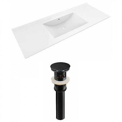 Alum 48 inch W Ceramic Single Sink Rectangular Vanity Top in White with Drain in Black