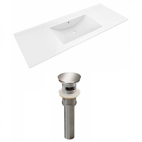 Alum 48 inch W Ceramic Single Sink Rectangular Vanity Top in White with Drain in Nickel