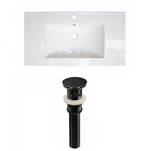 36.7 inch W Ceramic Single Sink Rectangular Vanity Top in White with Drain in Black
