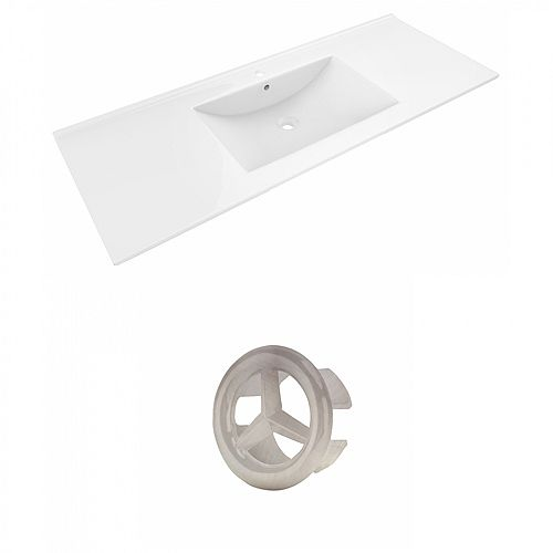 Modern Alum 48 inch W Ceramic Single Sink Rectangular Vanity Top in White