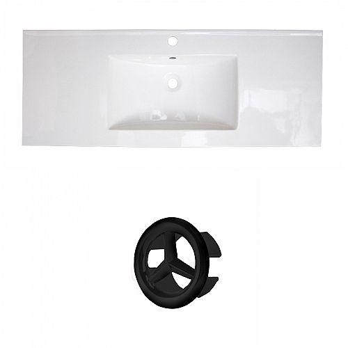 39.75 inch W Drop In Ceramic Single Sink Rectangular Vanity Top in White