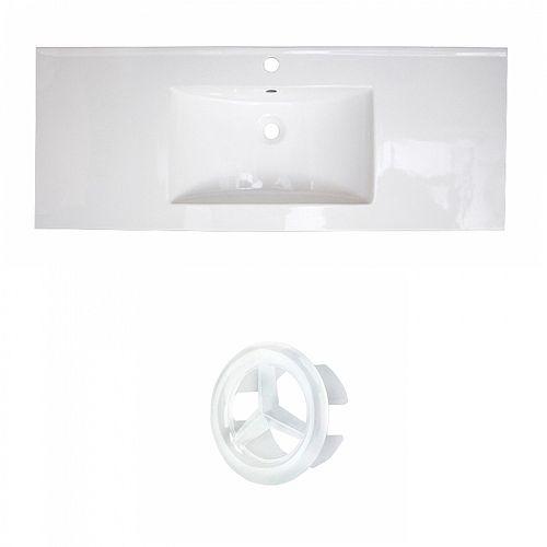Transitional 39.75 inch W Ceramic Single Sink Rectangular Vanity Top in White