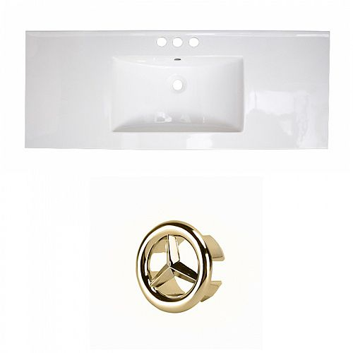 Flair 48.75 inch W Ceramic Single Sink Rectangular Vanity Top in White with Gold Hardware