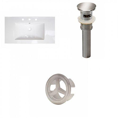 Transitional Flair 36.75 inch W Ceramic Single Sink Rectangular Vanity Top in White