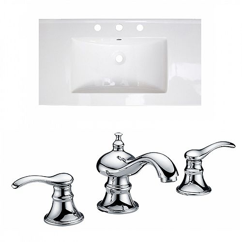 36.75 inch W Ceramic Single Sink Rectangular Vanity Top in White with Faucet in Chrome