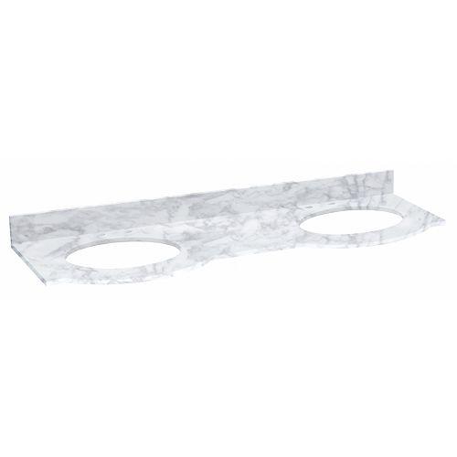 Tiffany 61.8 inch W Rectangular Vanity Top in Bianca Carara Stone