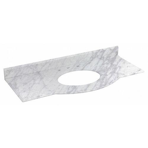 Allure 49.5 inch W Rectangular Vanity Top in Bianca Carara Stone