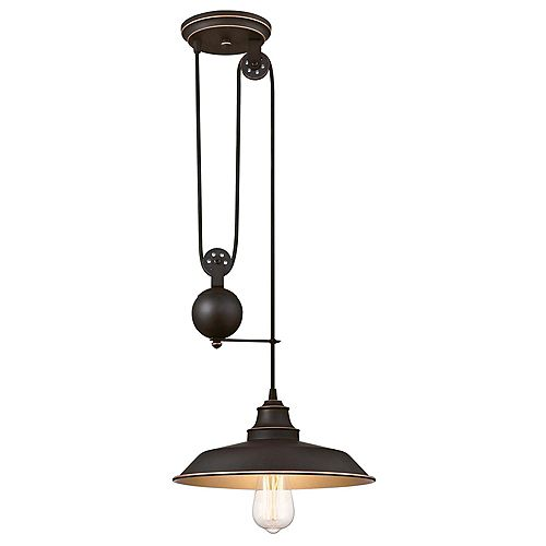 Iron Hill One-Light Indoor Pulley Pendant
