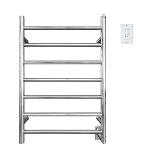 Comfort Seven Bar Hardwired Towel Warmer in Chrome Stainless Steel with Wall Countdown Timer