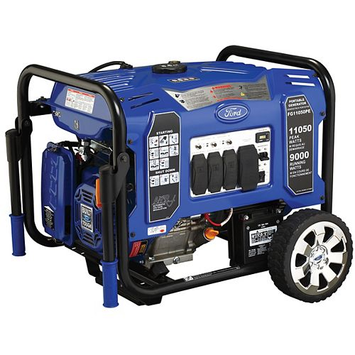 Ford 11,050/9,000-Watt Gasoline Powered Electric/Recoil Start Portable Generator with 457 cc Ducar Engine