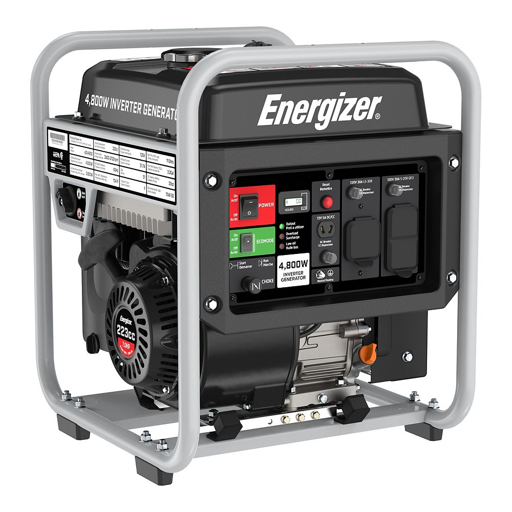 Energizer eZV4800 Portable Inverter Generator 4,800W Peak 3,600W Running, GFCI Outlets