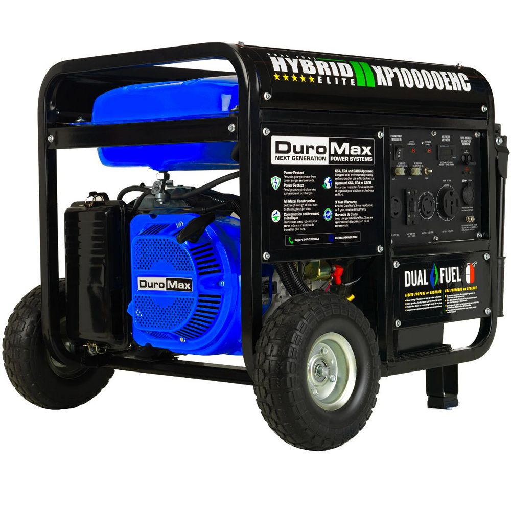 DuroMax 10,000 / 8,000 Watt Electric Start Dual Fuel Hybrid Portable Generator with Wheel Kit