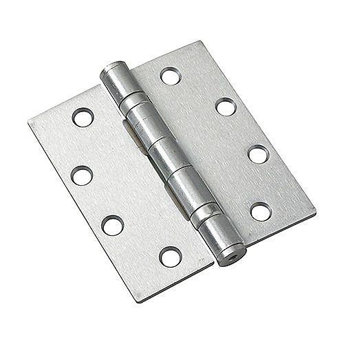 (Boîte de 3) Charnière à mortaiser avec roulement à billes, 4 1/2 po (114 mm), Chrome brossé