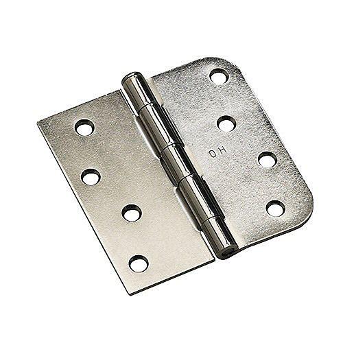 (Boîte de 3) Charnière combinée à mortaiser 4 po (102 mm) - rayon 5/8 po (15,8 mm), Nickel antique