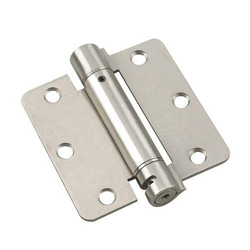 (1-unité) Charnière à ressort réglable de 3 1/2 po (88,9 mm) à mortaiser, Nickel brossé