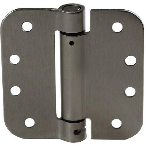 (1-unité) Penture à ressort réglable de 4 po à mortaiser, Nickel brossé