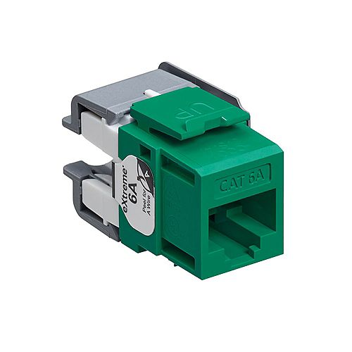 Leviton eXtreme 10G QuickPort Connector, CAT 6A, green