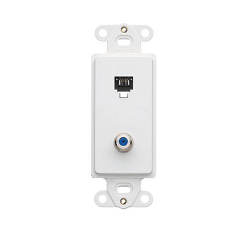 Decora Insert, 6P4C + F-Connector, Screw Terminals, White