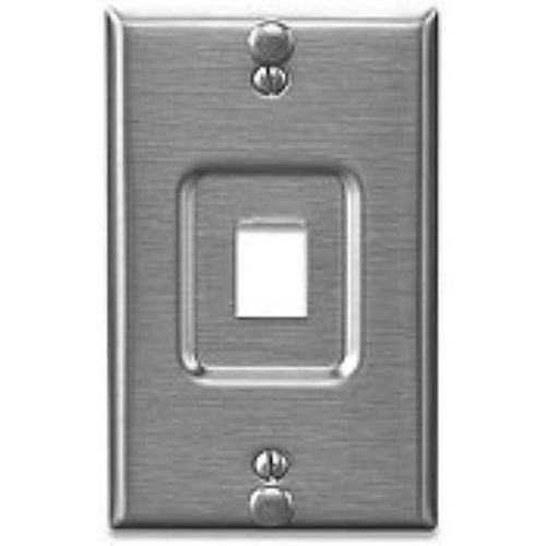 QuickPort Telephone Wall Jack, Stainless Steel, Recessed Port