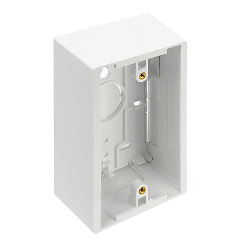 Surface Mount Backbox, Single Gang, White, Box Depth Is 1.89 Inches