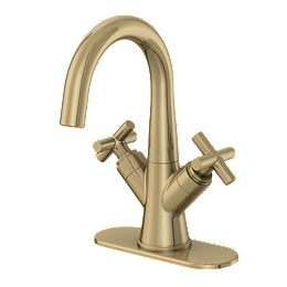 Wilmont Centerset 4-inch 2-Handle High Arc Bathroom Faucet in Brushed Bronze with Cross Handles