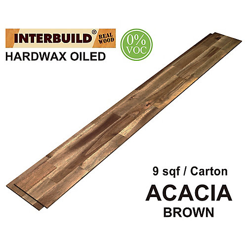 48 inch x 6 inch Acacia Hardwood Shiplap Wall Boards, 5-Pack, Brown Hardwax Oil Finish