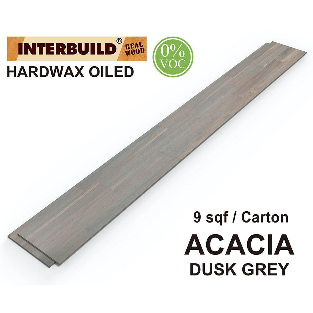 "INTERBUILD 48"" x 5.25"" x 0.375"" Acacia Hardwood Shiplap Wall Boards, 5-Pack, Dusk Grey Hardwax Oil Finish"