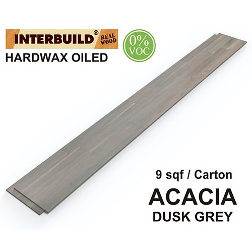 48 inch x 6 inch Acacia Hardwood Shiplap Wall Boards, 5-Pack, Dusk Grey Hardwax Oil Finish