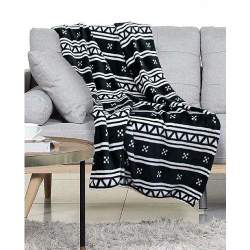 Jeté Nordic 127 cmx152 cm en Noir/Blanc