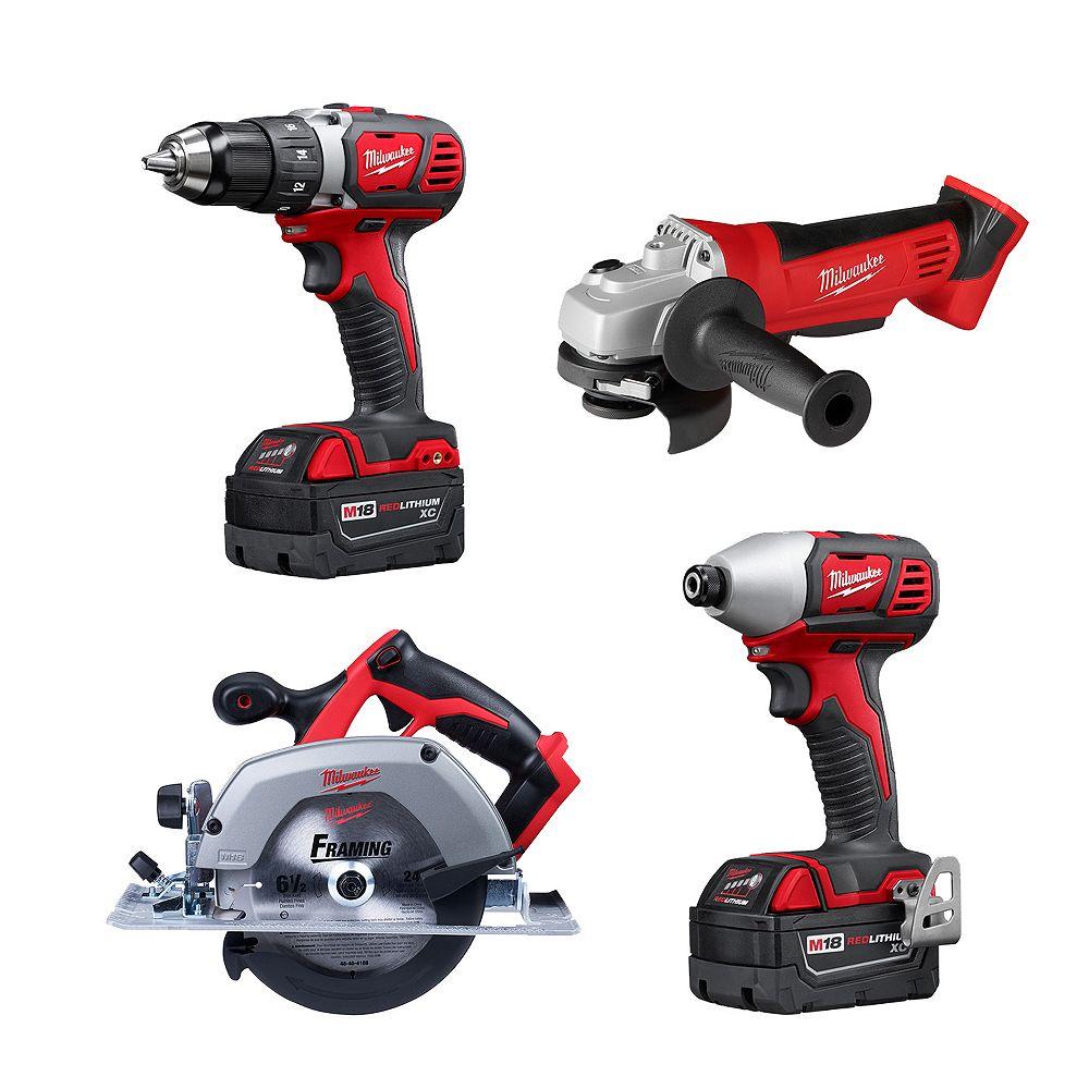Milwaukee Tool M18 18V Lithium-Ion Cordless Combo Tool Kit (4-Tool) W/ (2) 3.0Ah Batteries, Charger & Tool Bag