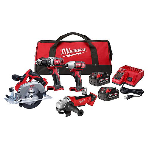 M18 18V Lithium-Ion Cordless Combo Tool Kit (4-Tool) W/ (2) 3.0Ah Batteries, Charger & Tool Bag