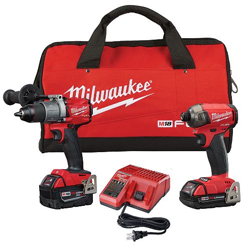 M18 FUEL 18V Lithium-Ion Brushless Cordless Surge Impact Driver/Hammer Drill Combo Kit w 2-Batteries