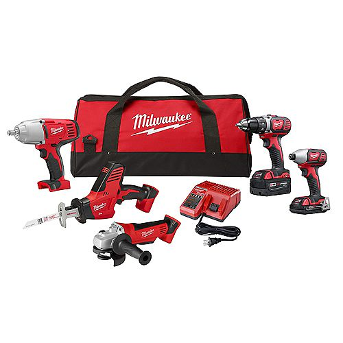 Milwaukee Tool M18 18V Lithium-Ion Cordless Combo Tool Kit (5-Tool) with (2) Batteries, Charger, Tool Bag