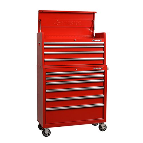 40-inch 10-Drawer Tool Chest and Cabinet Combo in Red