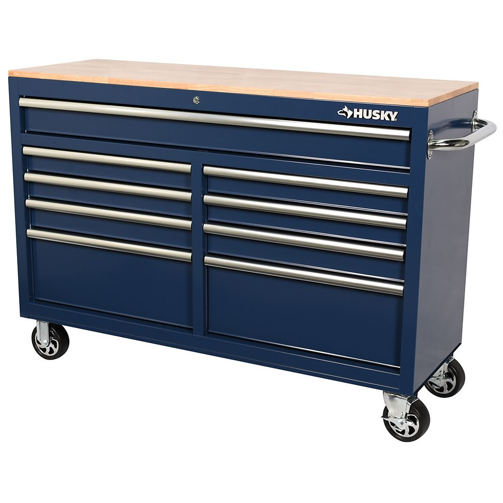 Husky 52 inch 9-Drawer Mobile Work Bench in Blue
