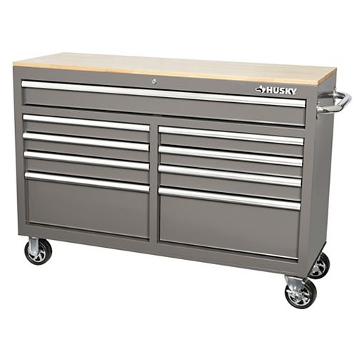 Husky 52 inch 9-Drawer Mobile Work Bench - Gray