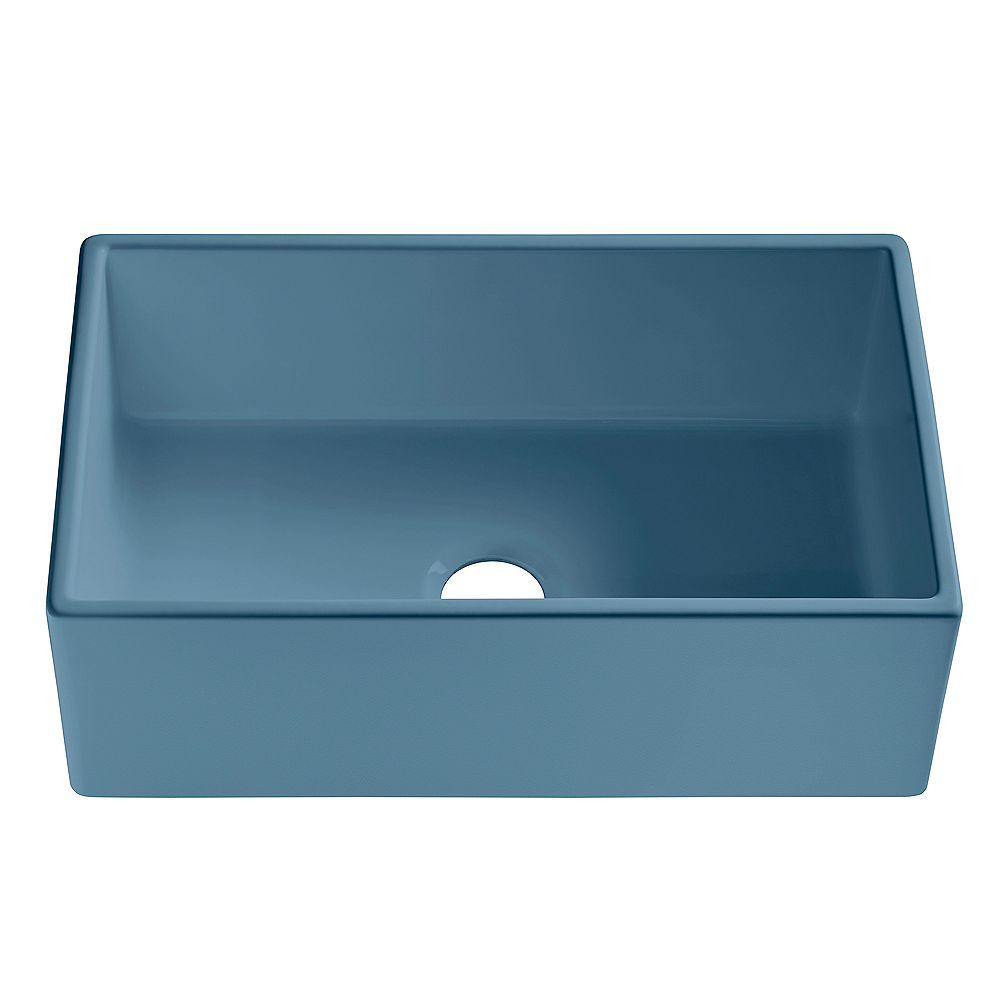 Sinkology Bradstreet II Farmhouse Fireclay 30 inch Single Bowl Kitchen Sink in Matte Blue