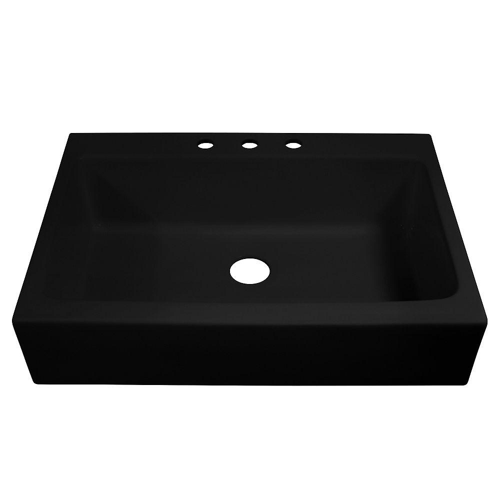 Sinkology Josephine Drop-in Farmhouse Fireclay 33.85 inch 3-Hole Single Bowl Kitchen Sink in Gloss Black