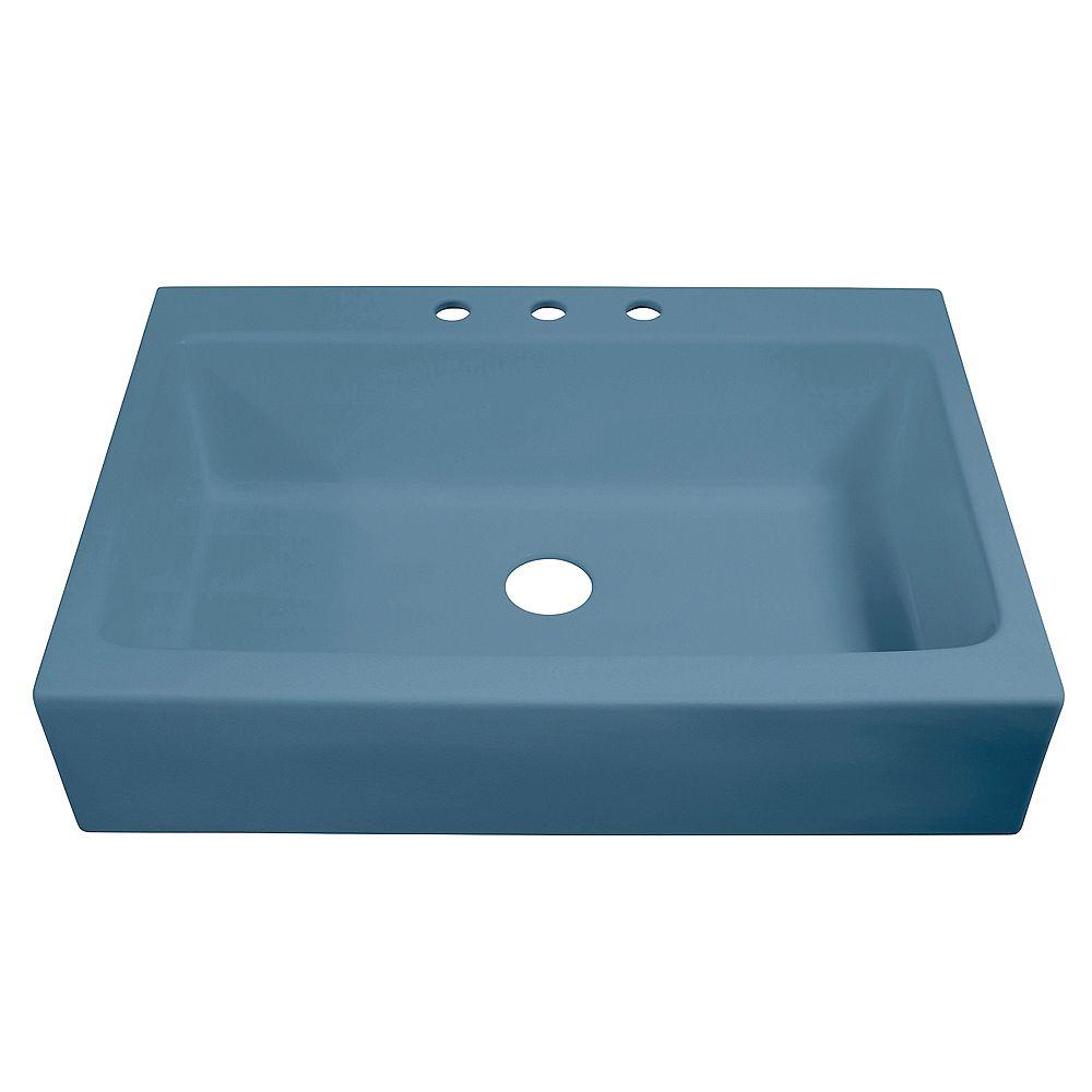 Sinkology Josephine Drop-in Farmhouse Fireclay 33.85 inch 3-Hole Single Bowl Kitchen Sink in Matte Blue