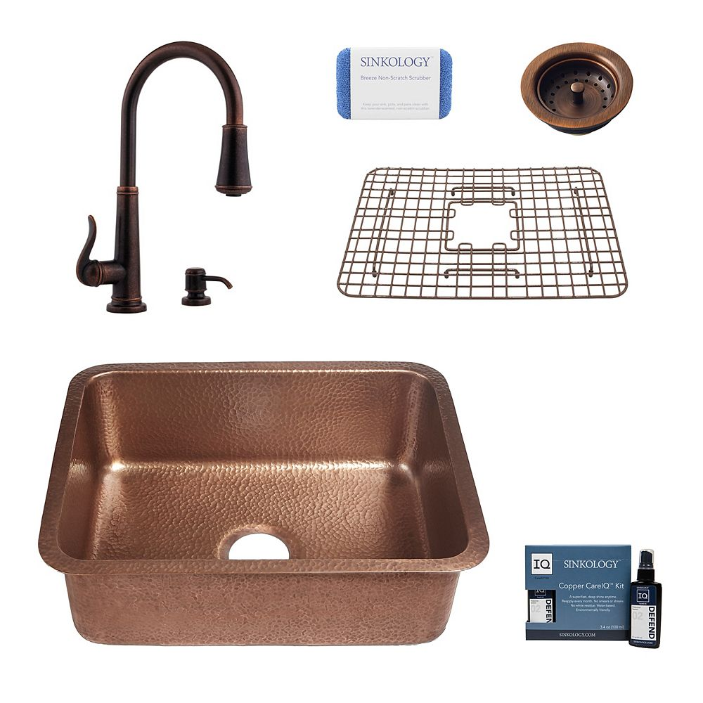 Sinkology Renoir All-In-One Copper Undermount Kitchen Sink Design Kit with Ashfield Faucet with Drain