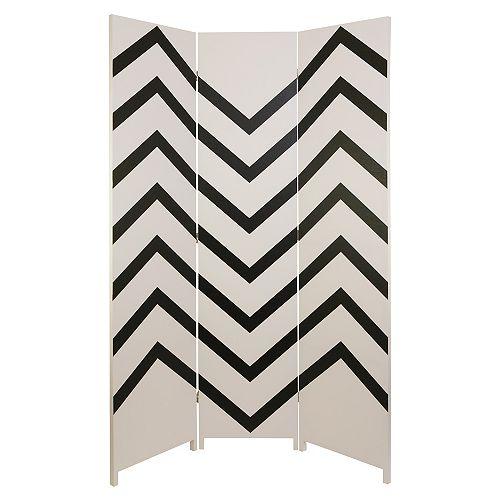 Paravent Danielsson, collection Stockholm de kieragrace, motif zig-zag noir et blanc