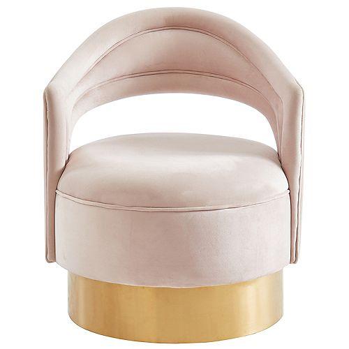 Velvet Swivel Accent Chair-Blush/Gold
