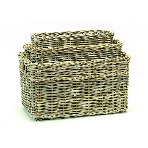 Rattan 3 Piece Basket Set
