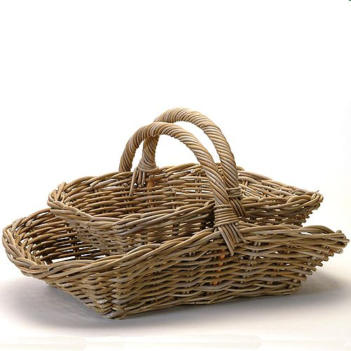 Rattan 2 Piece Basket Set