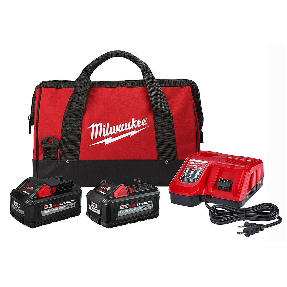 Milwaukee Tool M18 18V HIGH OUTPUT Starter Kit with (1) 8.0 Ah, Battery (1) 6.0 Ah Battery, Rapid Charger & Bag