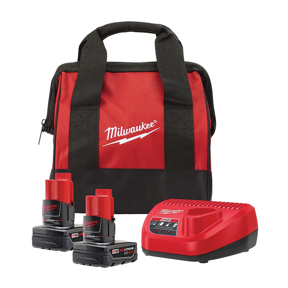 Milwaukee Tool M12 12V Lithium-Ion Starter Kit with (2) 4.0Ah XC Battery Packs, Charger & Bag