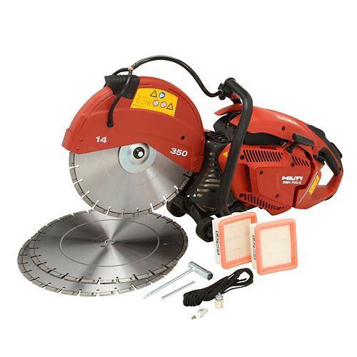DSH 700-X 70CC 14 in. Hand Held Gas Saw with (3) 14 in. Premium Diamond Blades