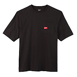 Men's Large Black Heavy Duty Cotton/Polyester Short-Sleeve Pocket T-Shirt